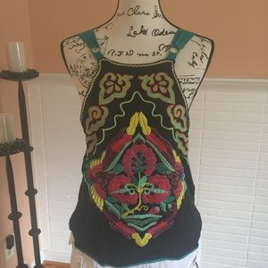 Free People Embroidered Jersey Knit Tank Top
